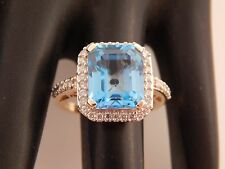 Designer Wide 14k YG HUGE 15.60 ct Blue Topaz Halo Diamond G/SI Ring Engagement