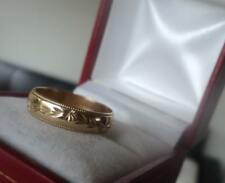 Vintage 9ct Yellow Gold Patterned Wedding Ring Band h/m 1991 Sheffield - size N