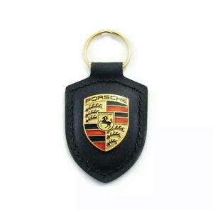 Black Porsche Leather Crest Key Fob Keyring Chain Ring Emblem NEW in Plastic!