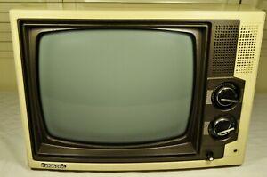 "Vintage Panasonic TR-1240T Portable CRT TV 10"" x 8"" 1983 Working Condition Rare!"
