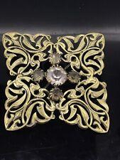 ART NOUVEAU PASTE BROOCH PIN EXUBERANT LARGE PIERCED WORKS CIRCA 1907