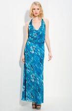 NEW ALICE + OLIVIA 'Clara' Maxi Halter DRESS Size M (8-10) $440 MULTI BLUE