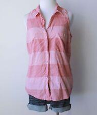 Ladies Plaid Checkered Gingham Sleeveless Hi Low Button Down Shirt Top Blouse M