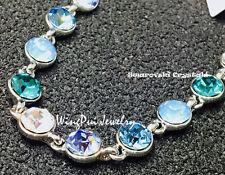 New item Made with Swarovski Round Blue Crystal 18K Gold Plated Bracelet