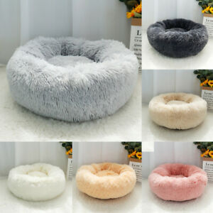 Soft Gray Plush Dog Bed Pet Cat Calming Bed Warm Round Nest Sofa Cushion XS-XXL