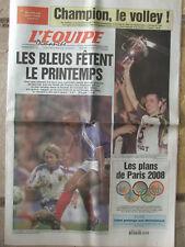 L'Equipe du 25/3/2001 - Paris Volley - Foot : France-Japon - Zabel - Paris 2008