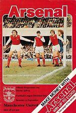 Football Programme>ARSENAL v MAN UTD Sept 1978