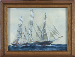 c.1910 Clipper Ship Watercolour in manner of Jack Spurling (1871-1933) British