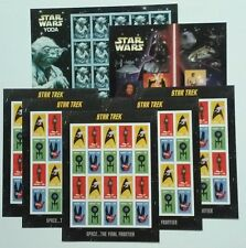 5 Sheets of STAR TREK Forever US stamps & 2 Sheets of STAR WARS Saga Yoda Combo