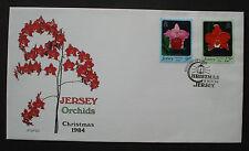 Jersey-GB 1984:MN 340-341 christmas/Weihnachten orchids cpl. fdc Ersttagsbrief