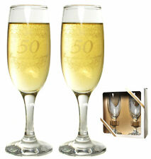 """Sektglas-Set """"50 Jahre stolze Leistung"""" Goldene Hochzeit Geschenk Sektgläser"""