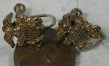 Vintage 1940's Military Navy Screw Back Earrings Gold on Sterling