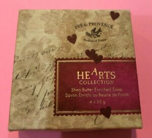 New HEARTS SOAPS Pré de Provence Box of 4 Bars Made in France NICE GIFT!