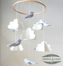 Baby Crib Mobile by Sorrel & Fern - Birds & Clouds- Felt Ceiling Decor