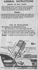 1949 1950 Mercury Appleton Spotlight Mounting Template & Instructions