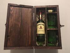 Jameson Whiskey Lidded Wood Box, 2 Rocks Glasses, 1 Shot Glass Made From Bottles