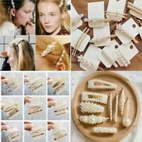 Women Metal Pearl Hair Clip Snap Barrette Stick Hairpin Hair Accessories Gift
