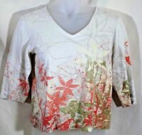 Chicos Additions 2 knit top womens beige floral pullover V neck 3/4 sleeves nice