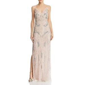 Aidan Mattox Womens Pink Beaded Strappy Formal Evening Dress Gown 8 BHFO 3242