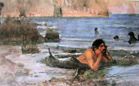 Oil painting J. W. Waterhouse - Male portrait The Merman In the Everglades 36""