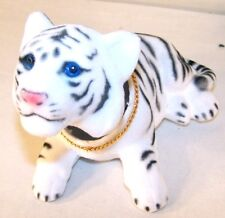 4 White Bobbing Head Tigers animals toys toy wild tiger bobble heads animal new