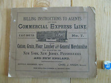 Billing instructions to agents Commercial Express Line Railways NY NJ PA 1894