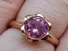 NEW Flower-Bezel Halo Pink Sapphire Solitaire Ring Band- 10K Rose Gold- Size 7
