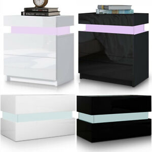 2 Drawers Bedside Table LED Nightstand High Gloss Modern Bedroom Chest Cabinets