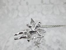 14k White Gold & Diamond ~Angel w Stars Pendant and Chain