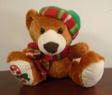 """Christmas Plush Teddy Bear with Scarf, Hat and Candy Cane on Paw 6"""" Seated VG"""