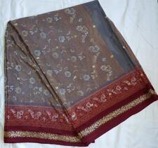 Dusky Blue Gray Sari Indian Saree Bollywood Fabric Panel Drape