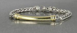 "Authentic Men's David Yurman DY Wheat Bar Chain Bracelet 4mm 8.50"" Silver Gold"