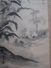 ANTIQUE signed CHINESE or JAPANESE LANDSCAPE PAINTING SCROLL