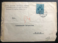 1941 Budapest Hungary Censored welfare office of jews cover To Nice France