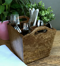 Wooden Cutlery Holder Tray With Handles Dark Wood 4 Storage Compartments