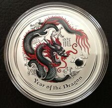 2012 1oz Silver Australian BLACK/red Dragon Coin Direct From Mint Roll