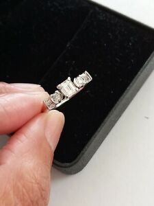 14Kt White Gold NATURAL Diamond Engagement Ring with Certification Size 6