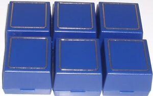 Six New Blue Plastic Ring Box's With Gold Trim & Velvet Insert