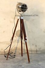 Vintage Nautical Industrial Chrome Floor Lamp With Wooden Tripod E 27 Decorative