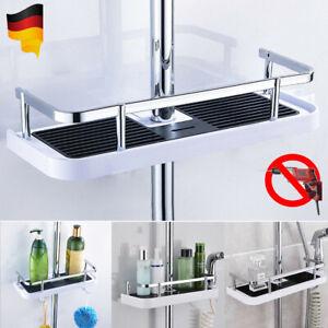 Duschregal ohne Bohren Badregal Eckregal Duschablage Dusche Silber mit Haken