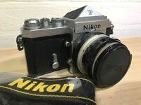 [Exc+++++] Nikon F Eyelevel SLR + NIKKOR-H AUTO 50mm f2 w/ Strap from JAPAN #291