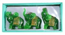 Feng Shui Set of 3 Green Jade Elephant Trunk Statues Wealth Figurine Home Decor