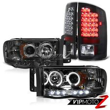 Dodge Ram Truck 02-2005 SMOKE L+R HaLo Projector Headlight+Black LED Tail Light
