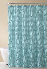 Aqua Blue and White Fabric Shower Curtain: Farmhouse Gingham with Pintuck Design