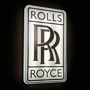 ROLLS ROYCE NEW ILLUMINATED LED LIGHT BOX WALL SIGN GARAGE AUTOMOBILIA BENTLEY