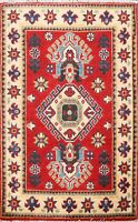 Traditional Super Kazak RED Oriental Area Rug Hand-Knotted Geometric Carpet 2x3