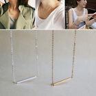Fashion Gold&Silver OL Horizontal Stick Noble Simple Bar Bone Pendant Necklace