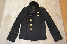 Gucci Black Wool Cashmere Fur Gold Button Military Coat Jacket Womens IT42 UK10