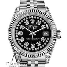 Women's Rolex 36mm Datejust Glossy Black String Diamond Accent Dial Watch