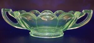 Vintage Art Deco Davidson Manganese Glass Chippendale Oval Bowl Glows @ 365nm